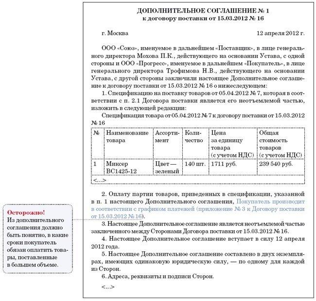 допсоглашение к договору услуг образец